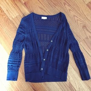 Sweaters - Navy Mid Sleeve Cardigan